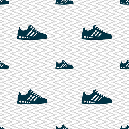 scamper: Sneakers icon sign. Seamless pattern with geometric texture. Vector illustration Illustration