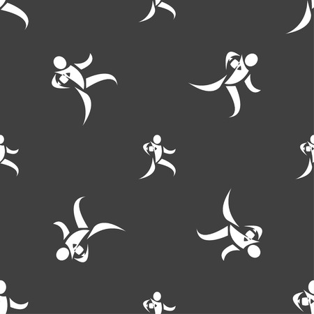 rugby player: Rugby player running with ball icon sign. Seamless pattern on a gray background. Vector illustration