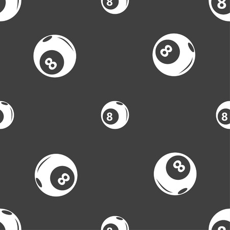 pocket billiards: Billiards icon sign. Seamless pattern on a gray background. Vector illustration Illustration