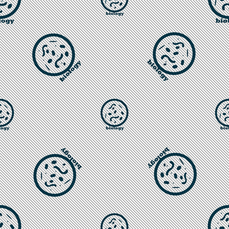 spirillum: bacteria and virus disease, biology cell under microscope icon sign. Seamless pattern with geometric texture. Vector illustration