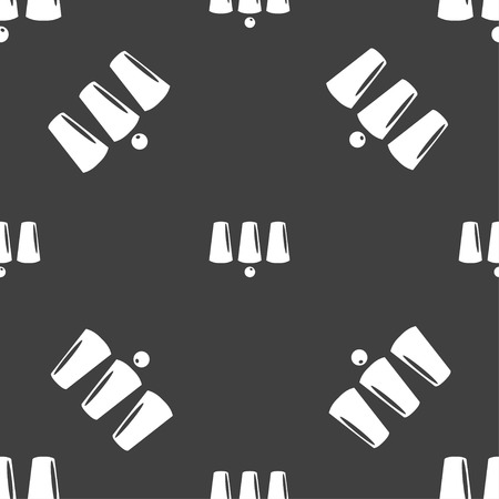 guess: Three game thimbles with a ball, games 3 cups icon sign. Seamless pattern on a gray background. Vector illustration