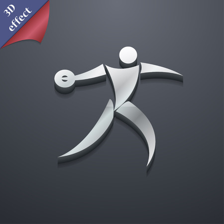discus: Discus thrower icon symbol. 3D style. Trendy, modern design with space for your text Vector illustration Illustration
