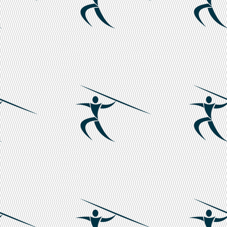 javelin: Summer sports, Javelin throw icon sign. Seamless pattern with geometric texture. Vector illustration