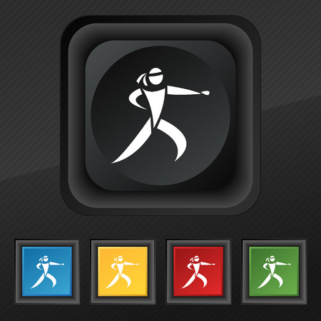jujitsu: Karate kick icon symbol. Set of five colorful, stylish buttons on black texture for your design. Vector illustration