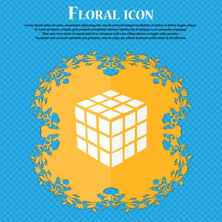 cube puzzle: A three sided cube puzzle box in 3D icon. Floral flat design on a blue abstract background with place for your text. Vector illustration