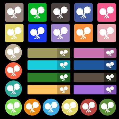 racquetball: Tenis icono de la muestra de cohetes. Conjunto de veinte y siete botones planos multicolores. ilustraci�n vectorial Vectores