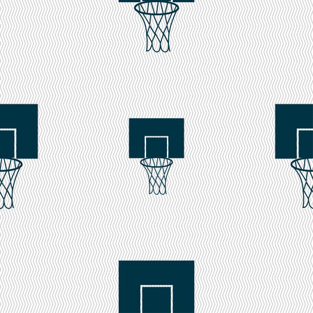backboard: Basketball backboard icon sign. Seamless pattern with geometric texture. Vector illustration