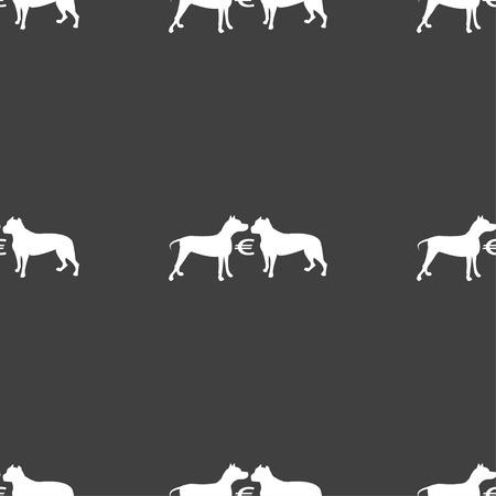 kampfhund: Wetten auf Hundekämpfe Symbol Zeichen. Nahtlose Muster auf einem grauen Hintergrund. Vektor-Illustration