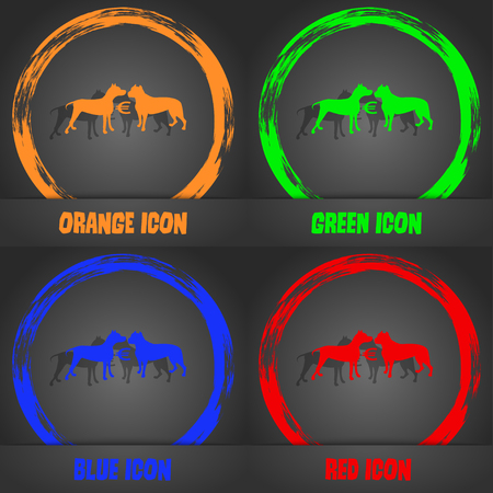 kampfhund: Betting on dog fighting icon. Fashionable modern style. In the orange, green, blue, red design. Vector illustration Illustration