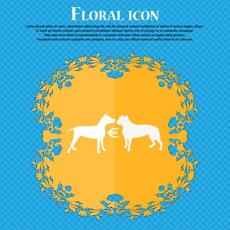 kampfhund: Wetten auf Hundek�mpfe Symbol. Floral flaches Design auf einem blauen abstrakten Hintergrund mit Platz f�r Ihren Text. Vektor-Illustration