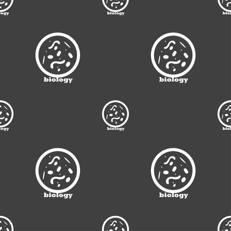 bacillus: bacteria and virus disease, biology cell under microscope icon sign. Seamless pattern on a gray background. Vector illustration