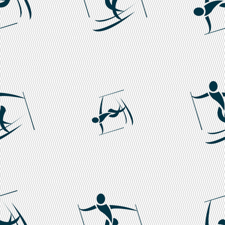 slalom: Skier icon sign. Seamless pattern with geometric texture. Vector illustration