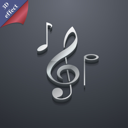 crotchets: musical notes icon symbol. 3D style. Trendy, modern design with space for your text Vector illustration