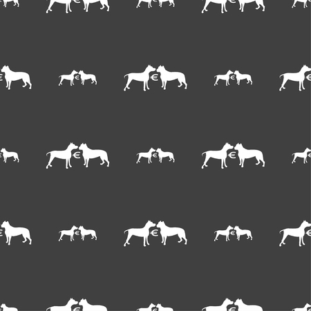 Betting on dog fighting icon sign. Seamless pattern on a gray background. Vector illustration