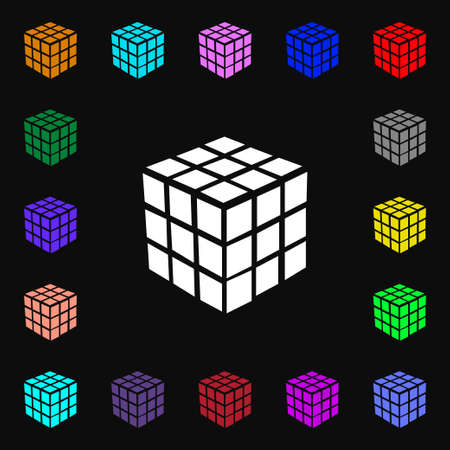 cube puzzle: A three sided cube puzzle box in 3D icon sign. Lots of colorful symbols for your design. Vector illustration Illustration