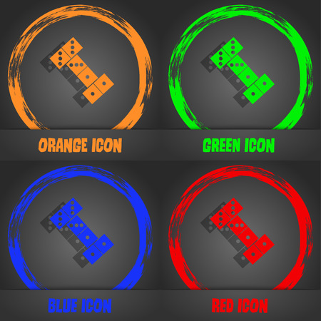 desk toy: domino icon. Fashionable modern style. In the orange, green, blue, red design. Vector illustration