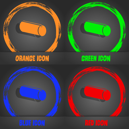 pencil case: pencil case icon. Fashionable modern style. In the orange, green, blue, red design. Vector illustration