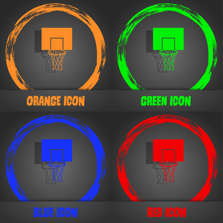 backboard: Basketball backboard icon. Fashionable modern style. In the orange, green, blue, red design. Vector illustration