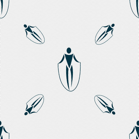 calisthenics: jump rope icon sign. Seamless pattern with geometric texture. Vector illustration