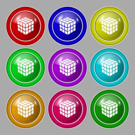 cube puzzle: A three sided cube puzzle box in 3D icon sign. symbol on nine round colourful buttons. Vector illustration Illustration