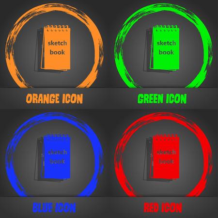 sketchbook: Sketchbook icon. Fashionable modern style. In the orange, green, blue, red design. Vector illustration