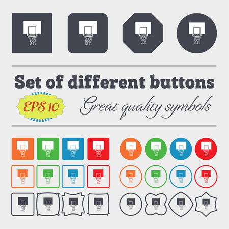 backboard: Basketball backboard icon sign. Big set of colorful, diverse, high-quality buttons. Vector illustration