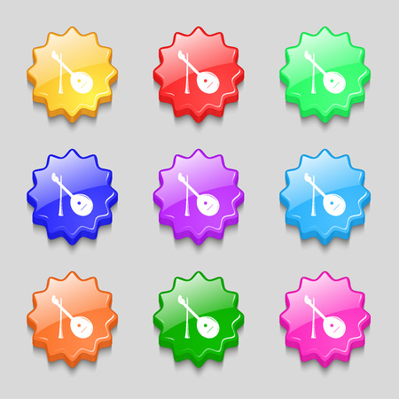 balalaika: Balalaika icon sign. symbol on nine wavy colourful buttons. Vector illustration