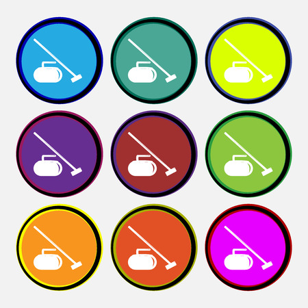 curling stone: The stone for curling icon sign. Nine multi colored round buttons. Vector illustration