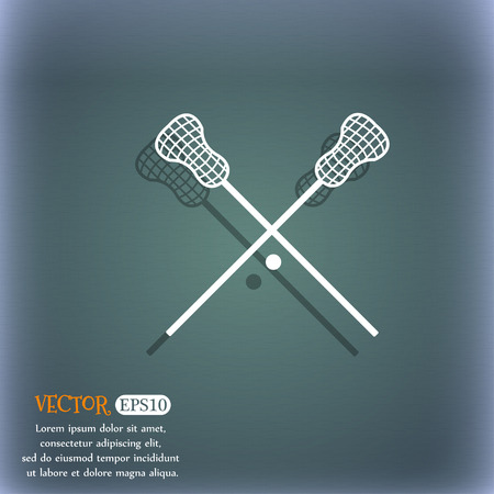 lax: Lacrosse Sticks crossed icon. On the blue-green abstract background with shadow and space for your text. Vector illustration