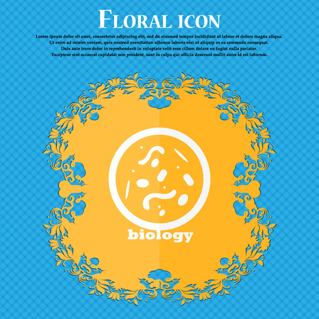 vibrio: bacteria and virus disease, biology cell under microscope icon. Floral flat design on a blue abstract background with place for your text. Vector illustration
