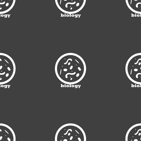 bacteria cell: bacteria and virus disease, biology cell under microscope icon sign. Seamless pattern on a gray background. Vector illustration