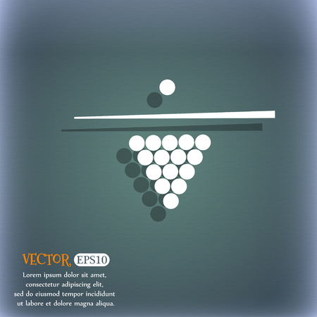 game of pool: Billiard pool game equipment icon. On the blue-green abstract background with shadow and space for your text. Vector illustration
