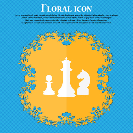 sport mats: chess Game icon. Floral flat design on a blue abstract background with place for your text. Vector illustration Illustration