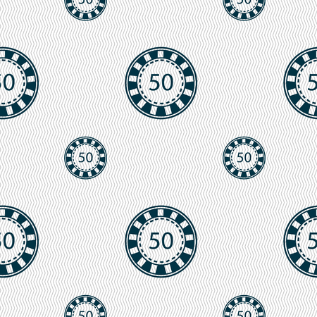 pursuit: Gambling chips icon sign. Seamless pattern with geometric texture. Vector illustration Illustration