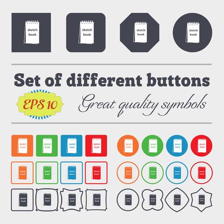 sketchbook: Sketchbook icon sign. Big set of colorful, diverse, high-quality buttons. Vector illustration