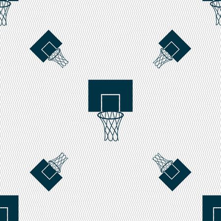backboard: Basketball backboard icon sign. Seamless pattern with geometric texture. Vector illustration