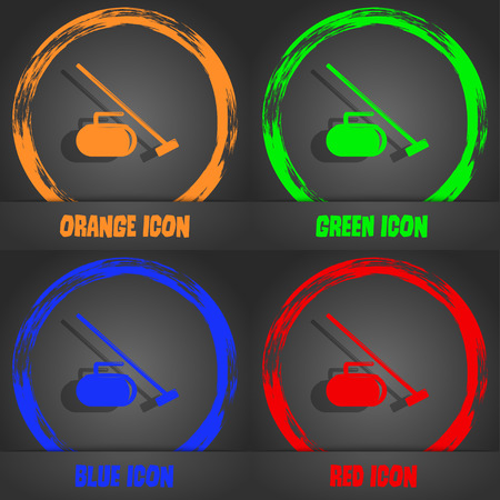 curling stone: The stone for curling icon. Fashionable modern style. In the orange, green, blue, red design. Vector illustration
