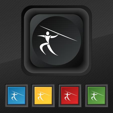 lanzamiento de jabalina: Deportes de verano, lanzamiento de jabalina icono de símbolo. Conjunto de cinco botones de colores y elegantes en la textura de negro para su diseño. ilustración vectorial