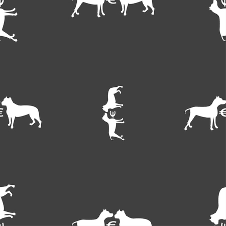 kampfhund: Betting on dog fighting icon sign. Seamless pattern on a gray background. Vector illustration
