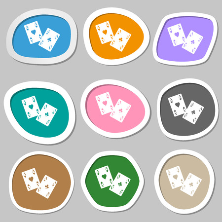 aces: Two Aces symbols. Multicolored paper stickers. Vector illustration
