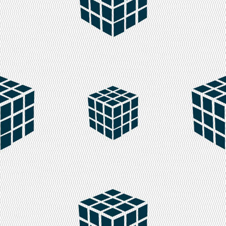 cube puzzle: A three sided cube puzzle box in 3D icon sign. Seamless pattern with geometric texture. Vector illustration