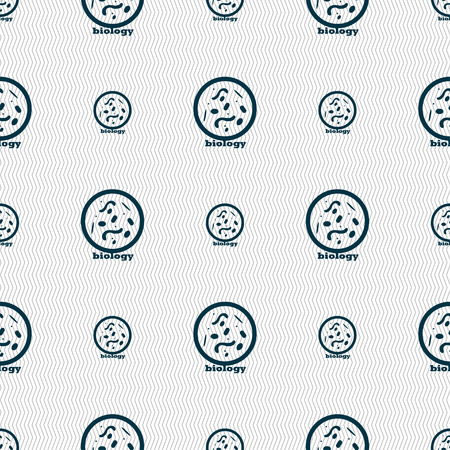 vibrio: bacteria and virus disease, biology cell under microscope icon sign. Seamless pattern with geometric texture. Vector illustration