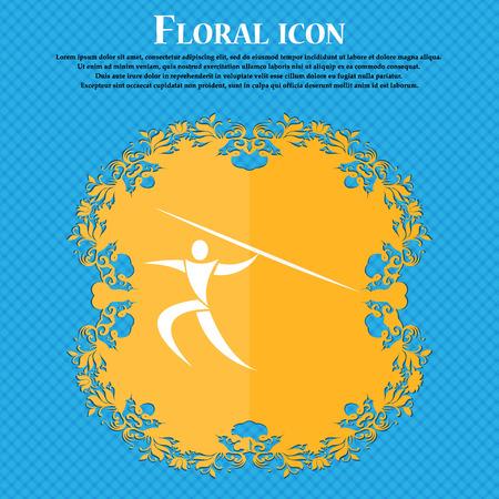 lanzamiento de jabalina: deportes de verano, Javelin icono tiro. El dise�o plano de flores sobre un fondo abstracto azul con el lugar para su texto. ilustraci�n vectorial