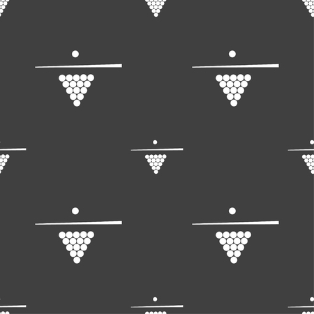 billiards rooms: Billiard pool game equipment icon sign. Seamless pattern on a gray background. Vector illustration