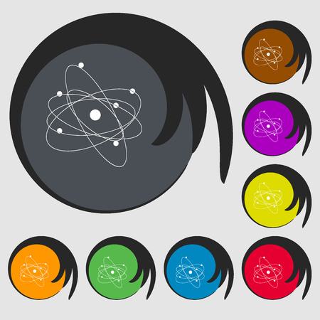 atomic nucleus: physics, atom, big bang icon. Symbols on eight colored buttons. Vector illustration Illustration