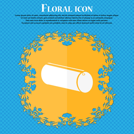 pencil case: pencil case icon. Floral flat design on a blue abstract background with place for your text. Vector illustration Illustration