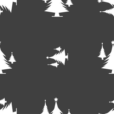 coniferous forest: bosques de coníferas, árbol, árbol de abeto icono de la muestra. patrón transparente sobre un fondo gris. ilustración vectorial Vectores