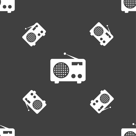 fm: Retro radio icon sign. Seamless pattern on a gray background. Vector illustration Illustration