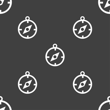 compas: Compass icon sign. Seamless pattern on a gray background. Vector illustration