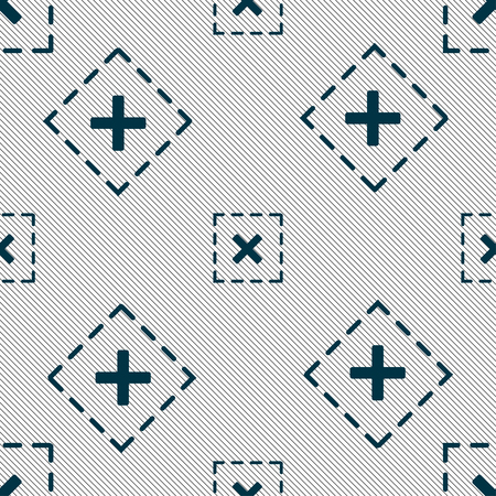 Cross in square icon sign. Seamless pattern with geometric texture. Vector illustration
